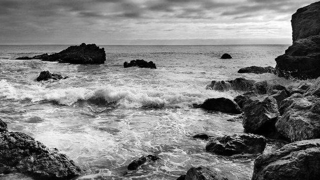 Leo Carrillo Beach CA black and white version Black And White Beach Rock - Object Horizon Over Water Tranquil Scene Travel Destinations Beauty In Nature Sunset_collection Scenics Sky_collection Seascape EyeEm Best Shots Sea Dramatic Sky Los Angeles, California Sky EyeEmBestPics Sunset Water Coastline Tourism California Dreaming Travel Photography Travelphotography Travel