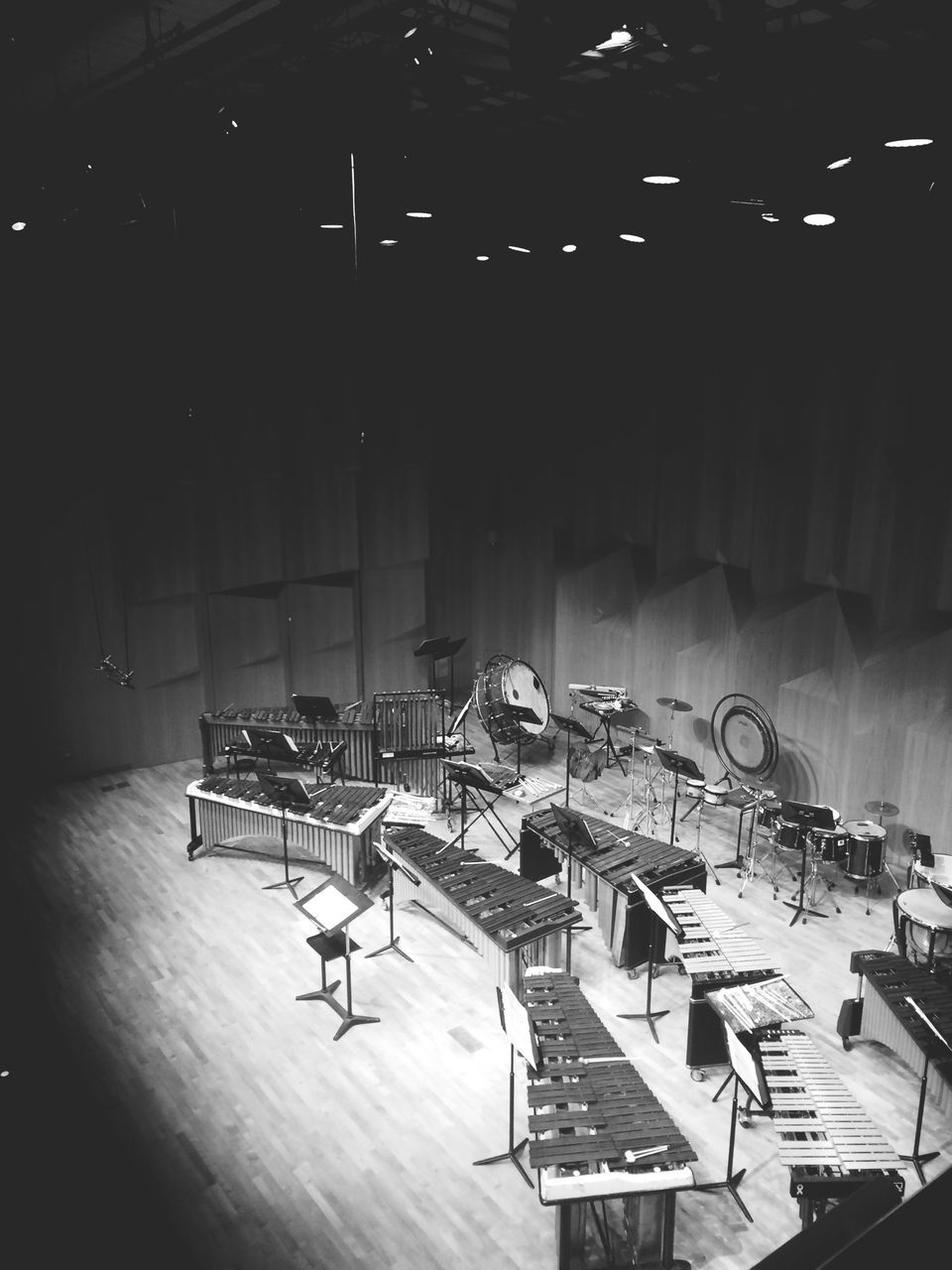 High Angle View Of Musical Instruments On Stage