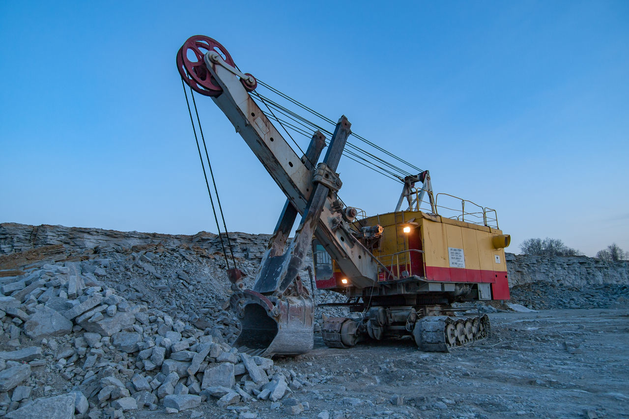 Digging Equipment Evening Industrial Equipment Industry Large Equipment Limestone Machinery Machinery No People Outdoors Quarry Quarry Rock Rock - Object Sky Stone Material