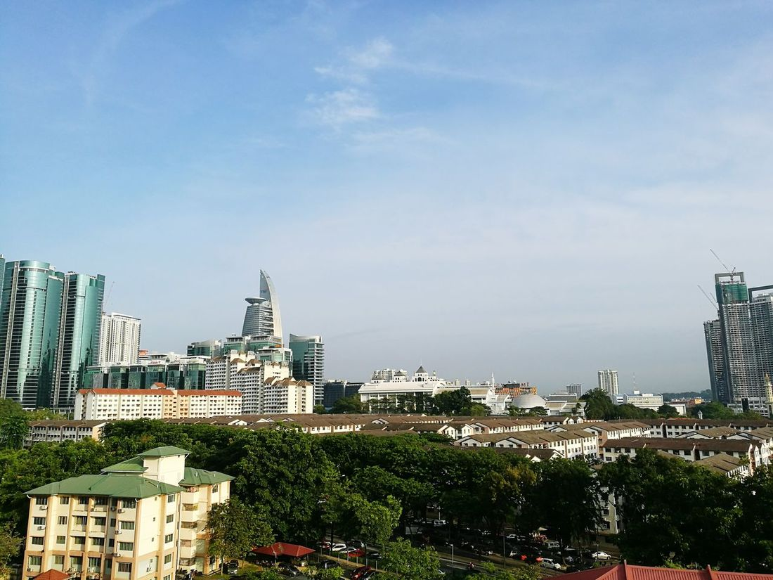Morning world City Urban Skyline Sky Cityscape Height Angle No People Day Outdoors View Nice Weather Nice Atmosphere Nice View Niceview Niceweather Business Finance And Industry Skyscraper Tree