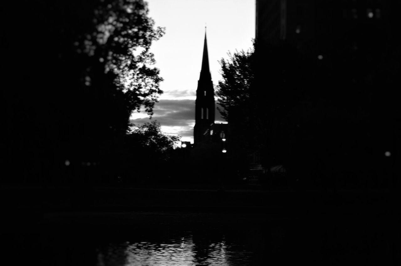 tree, religion, no people, water, architecture, spirituality, silhouette, waterfront, place of worship, travel destinations, built structure, outdoors, building exterior, day, nature, sky