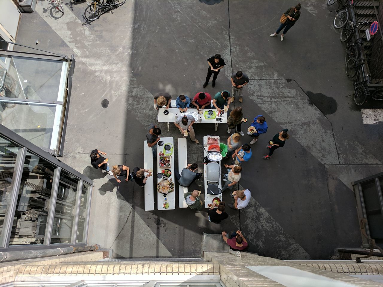 BBQ - The Leftovers! //Real People Large Group Of People Men Women High Angle View Architecture Looking From Above Leisure Activity Built Structure Togetherness Outdoors People Lift Bike Standing Google Pixel F/2.0 ISO 50 via Fotofall