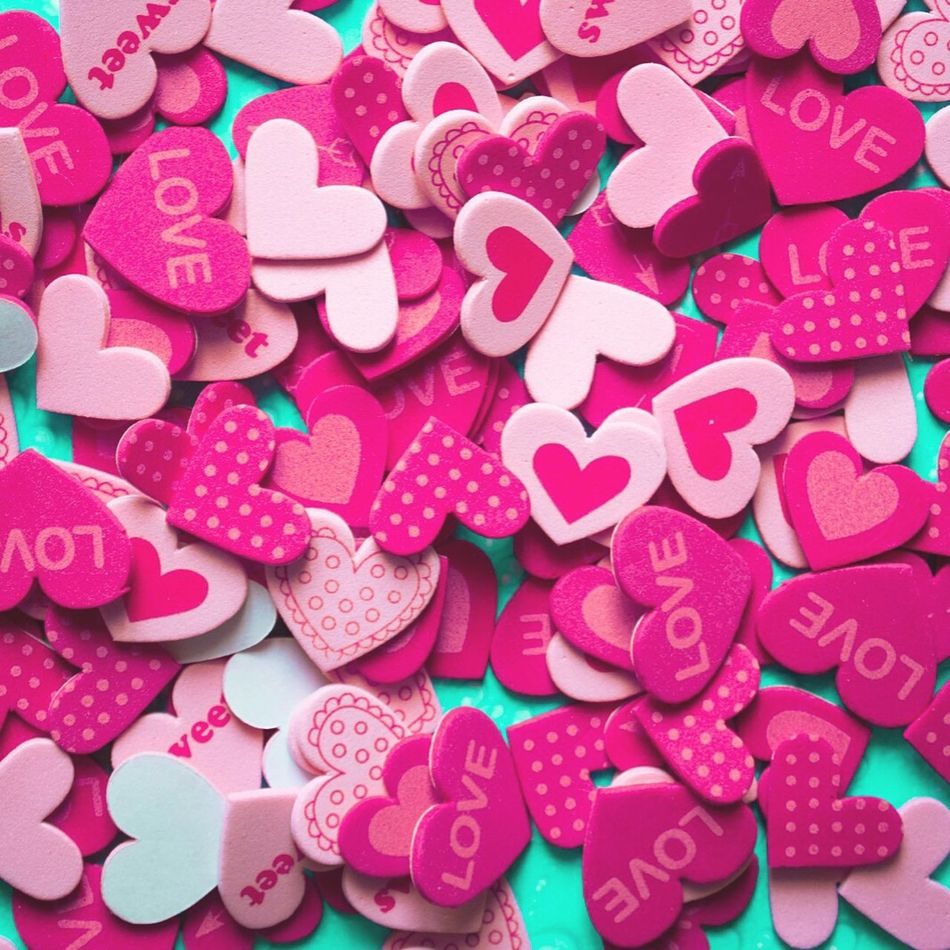 Love Lovely Valentine's Day  Valentine Heart Hearts Pink Colors Full Frame Pattern Light Enjoying Life Imperfection Is Beauty Hello World Showcase July Taking Photos Close Up Pattern, Texture, Shape And Form Words Art Point Of View Nopeople Sweet Pink Hearts Millennial Pink