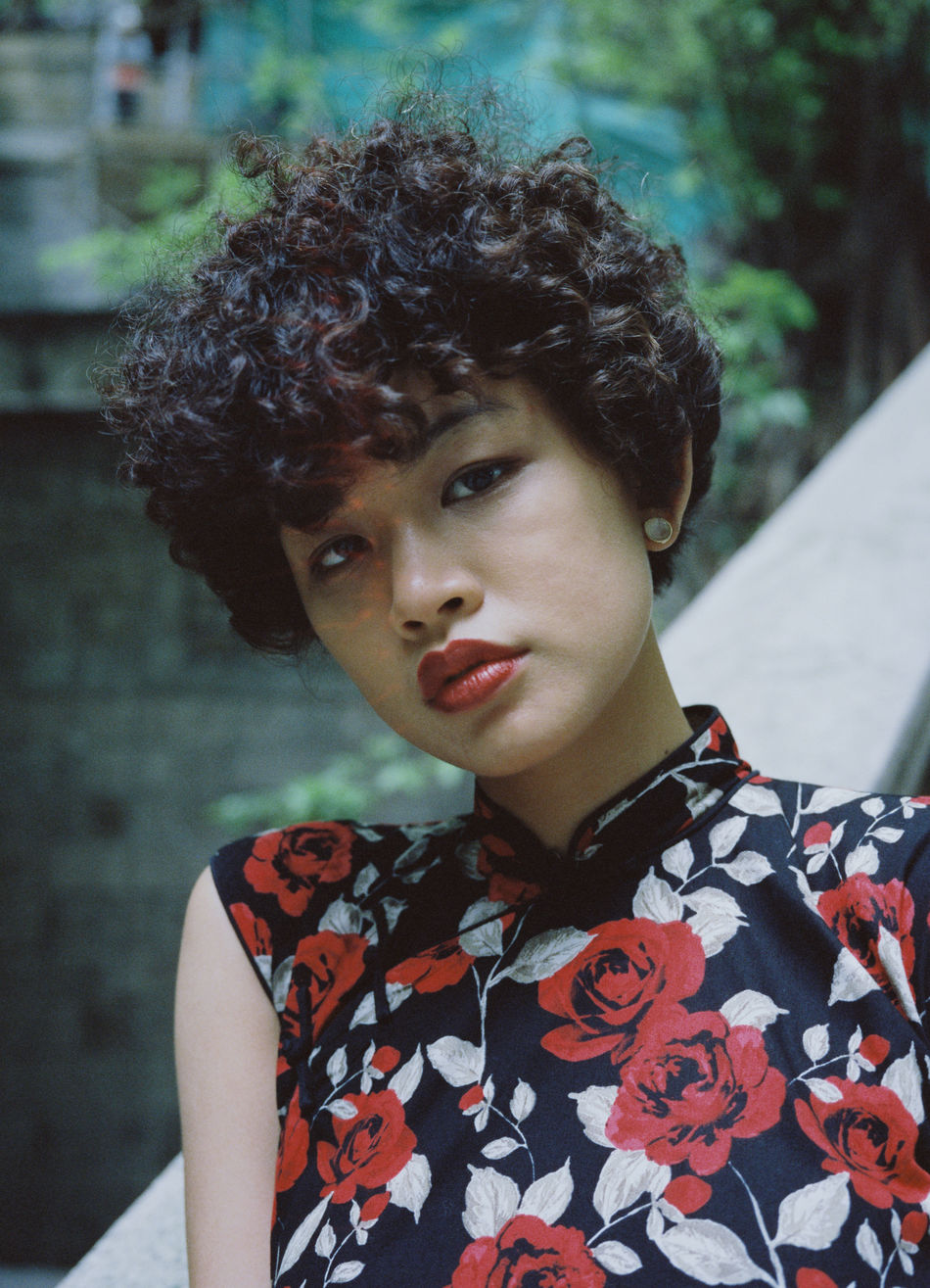 Adult Adults Only Beautiful Woman Beauty Cheongsam Close-up Curly Hair Day Fashion Focus On Foreground One Person One Woman Only One Young Woman Only Only Women Outdoors People Portrait Young Adult