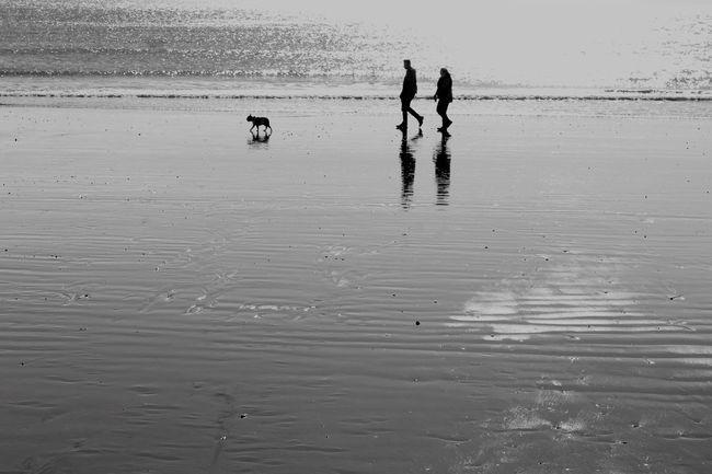 People be the sea. Hastings Sea Seaside Beach Blackandwhite Black And White Photography Monochrome Monochrome Photography Unrecognizable Person United Kingdom Outdoors Nature Horizon Over Water
