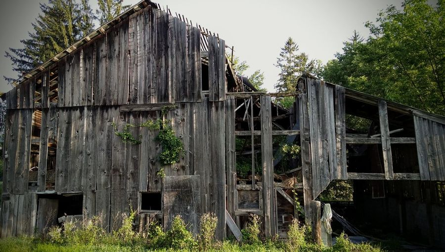 Old Weathered Rustic Barn Wood - Material Built Structure Architecture Building Exterior Outdoors Tree Day Sky No People Pocono Mts. Pa.