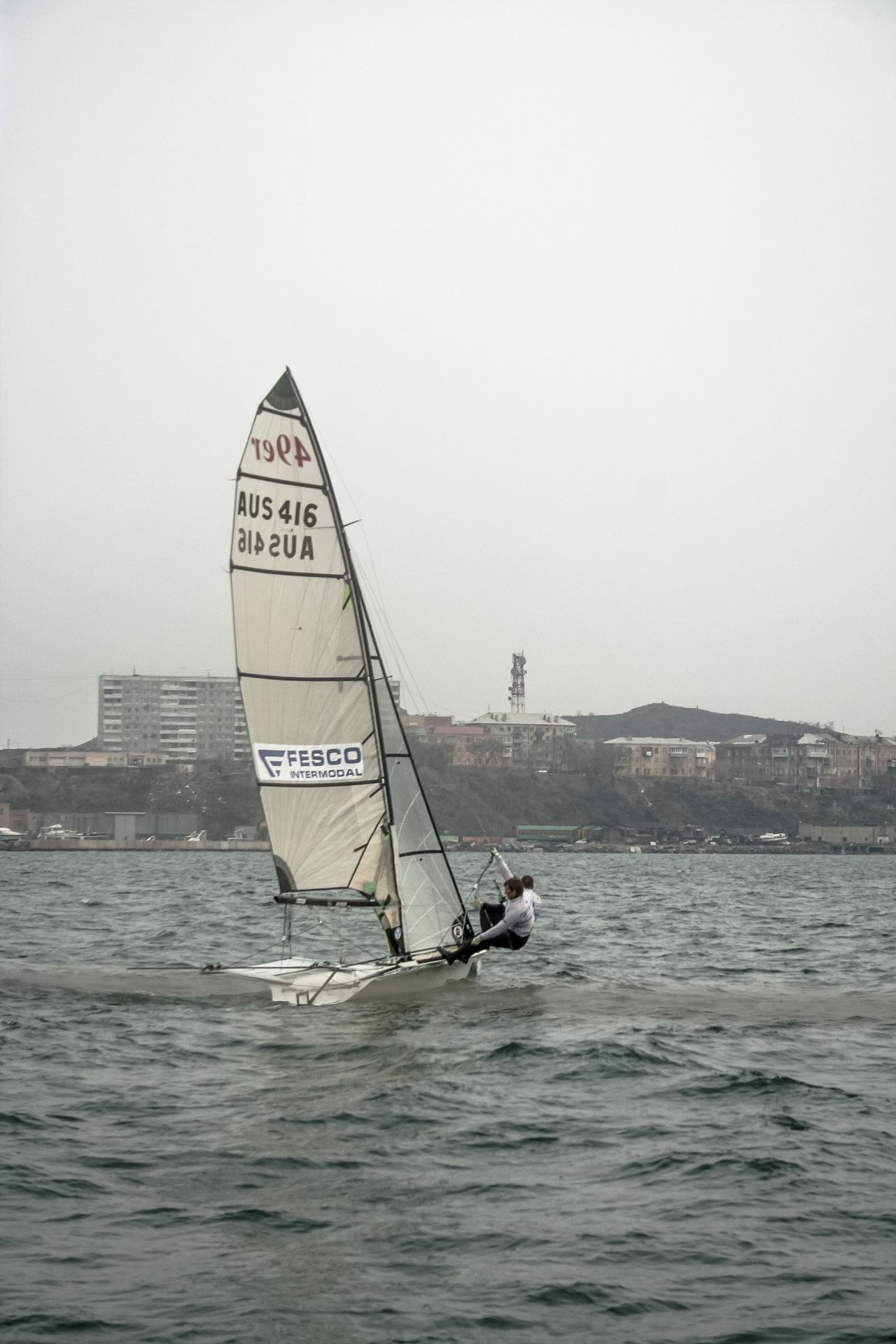Sport sailing in Vladivostok Adventure Club Building Sailboat Sailing Sail Seascape Sea Seaside Seacoast Sport Waves Sailer Speed Man Bay Wind
