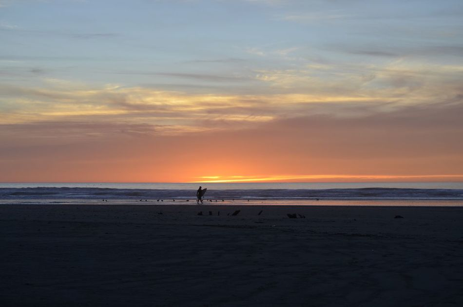 Sea Sunset Horizon Over Water Sky Beach Silhouette Water Real People Cloud - Sky Scenics One Person Beauty In Nature Nature Outdoors Sand Day People California Travel Destinations Tranquility Beauty In Nature Morro Bay Seascape California Coast Nature