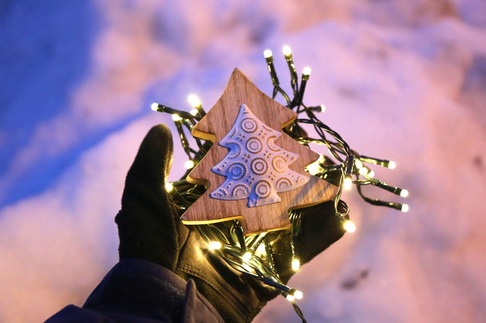 Christmas Christmas Decorations Christmas Lights Christmas Tree Cold Decoration Family Glove Hand Happiness Holding Led Lights  Lights One Hand Outdoors Showing Snow Togetherness Winter EyeEmNewHere