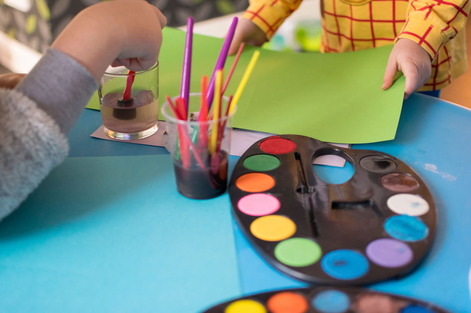 Human Hand Multi Colored People Close-up Indoors  Day Siblings Family Leisure Activity Holding Children Only Painting Palette Creativity Water Colours Paper Togetherness Table Child Childhood