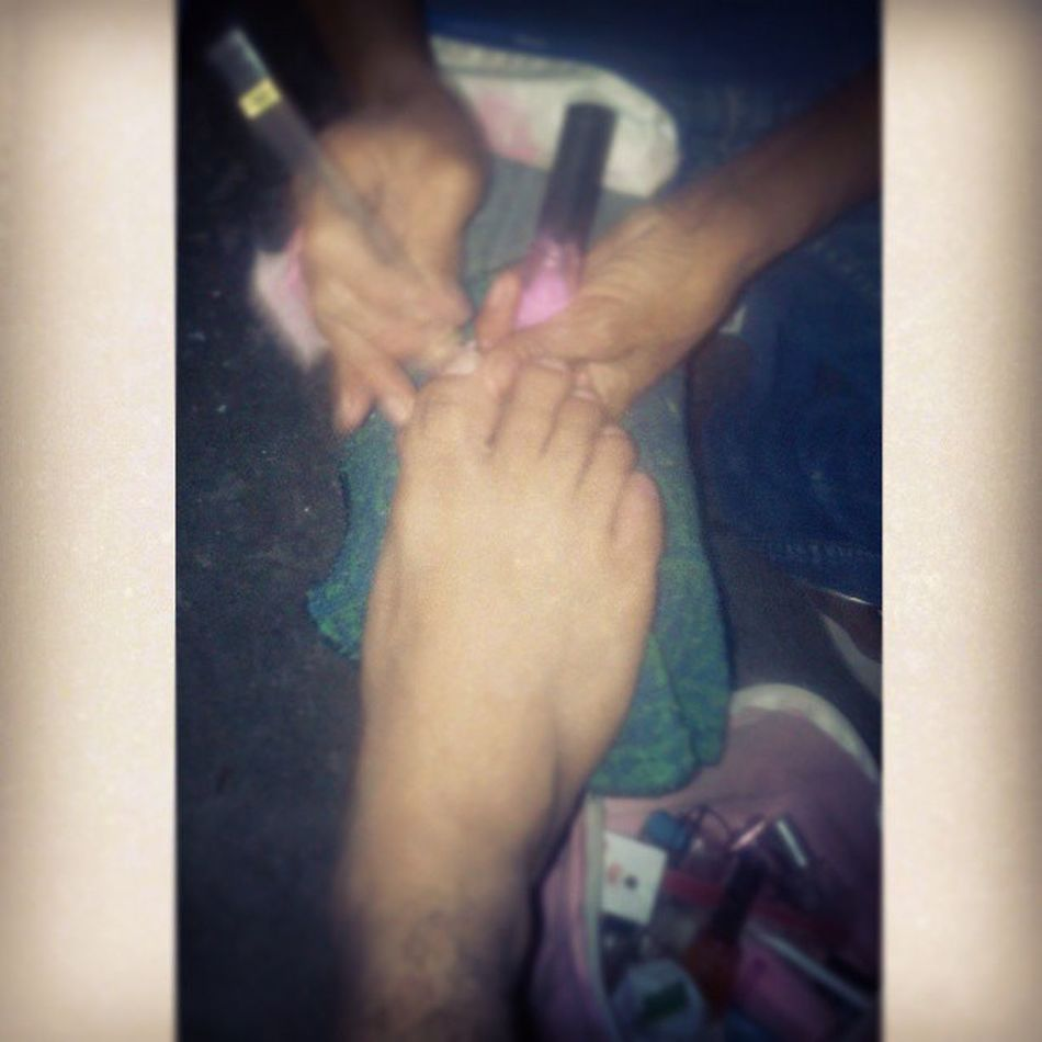 Boom. Hahaha. Cleaning ManicurePedicure hahahaha