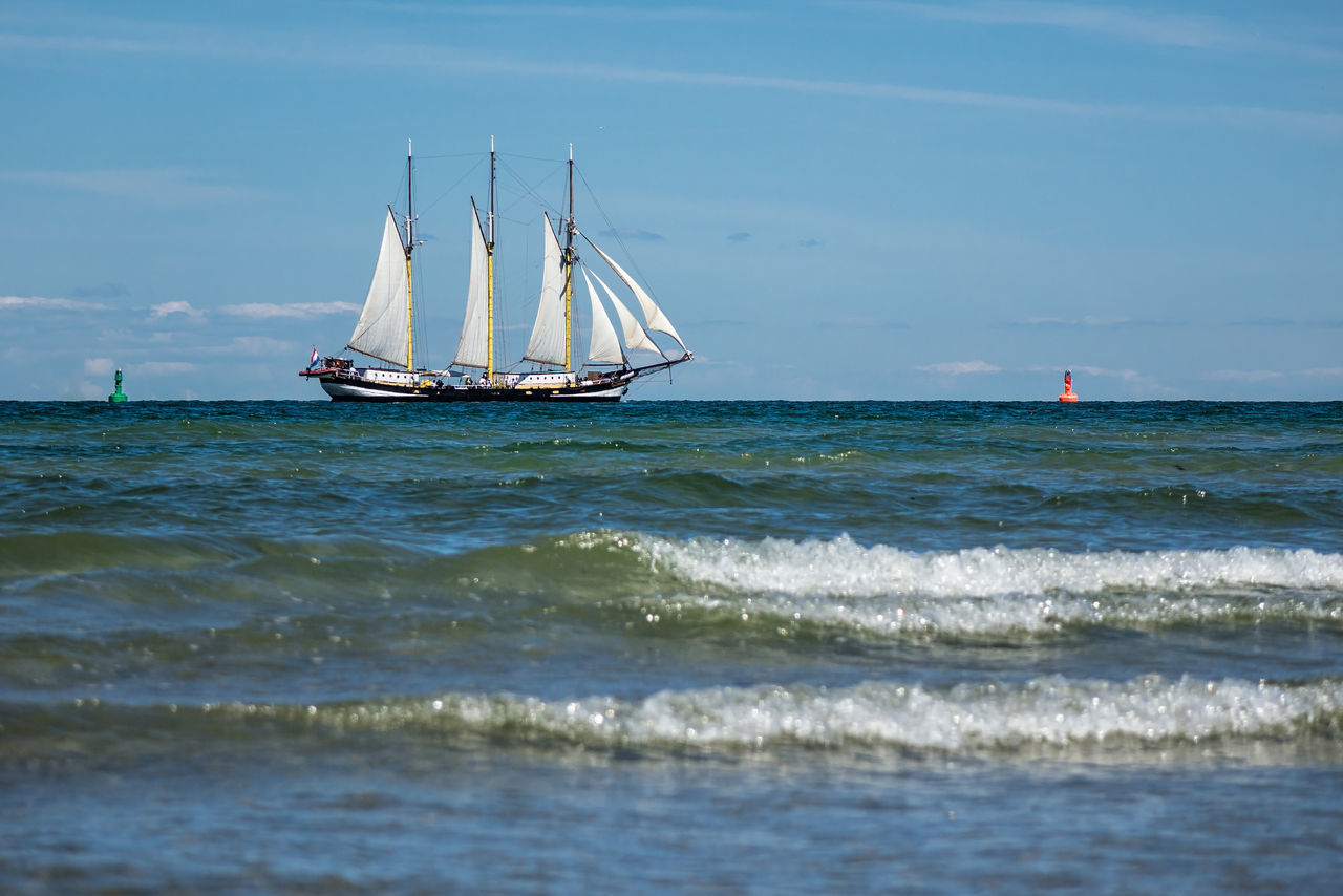 Windjammer on the Baltic Sea. Adventure Baltic Sea Beach Coast Competition Day Horizon Over Water Nature Nautical Vessel Outdoors People Regatta Sailboat Sailing Sailing Ship Sailor Sea Shore Sky Sport Warnemünde Water Wave Windjammer Yacht