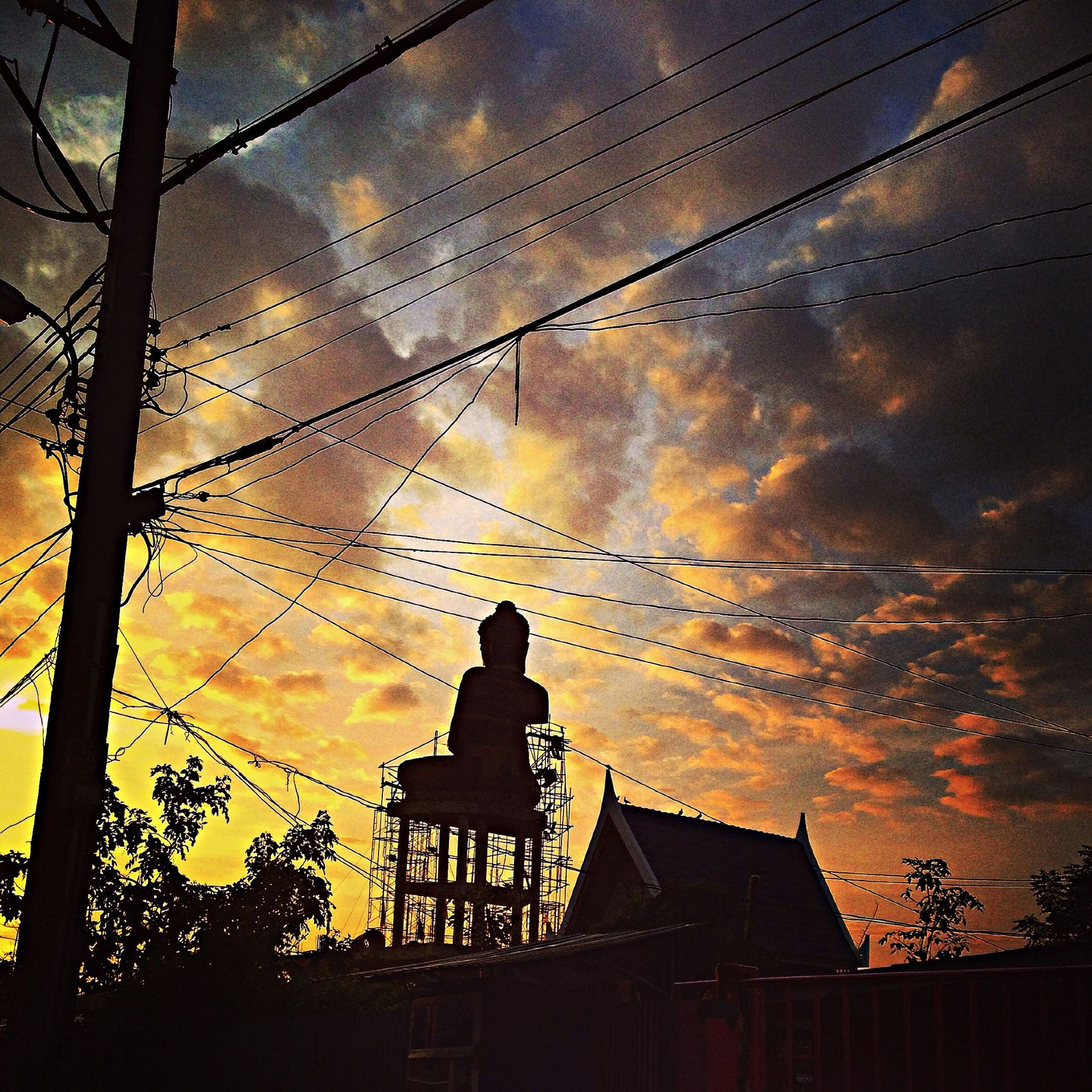 Clouds And Sky Sunset Silhouettes Image Of Bhuddha Temple