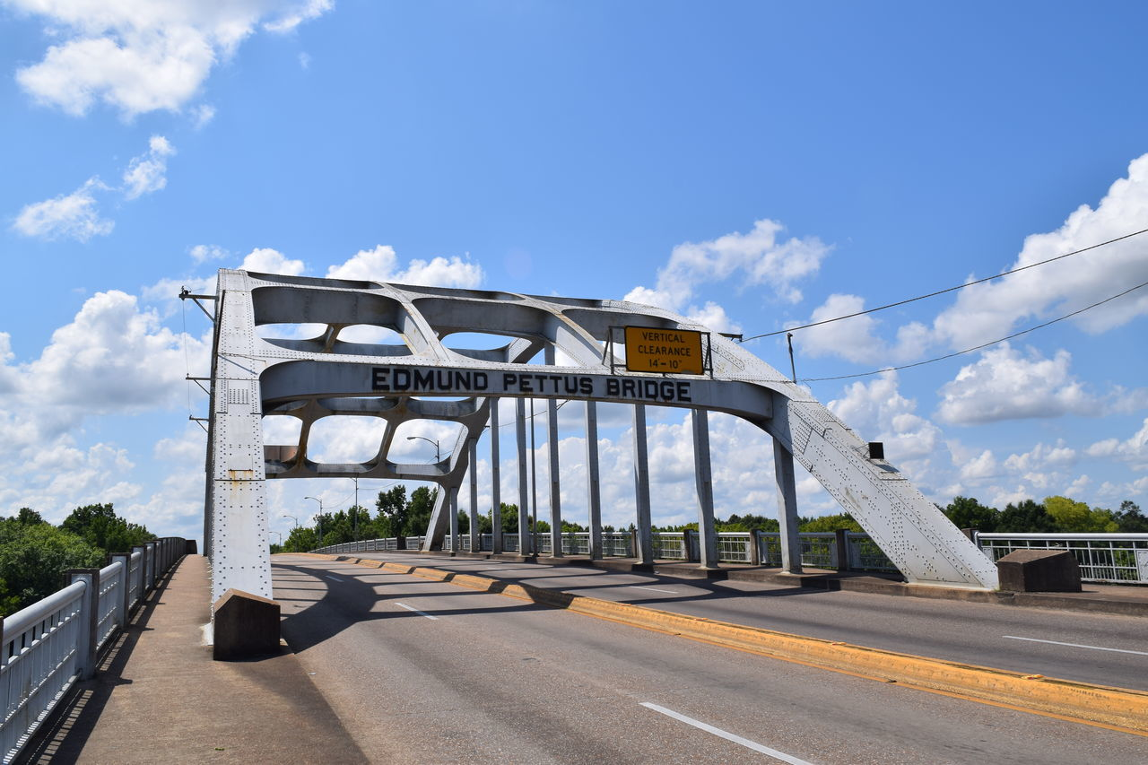 Edmund Pettus Bridge in Selma Alabama.. View From The Top View Selma Alabama Bridge Tourist Attraction  Road Trip Roadside