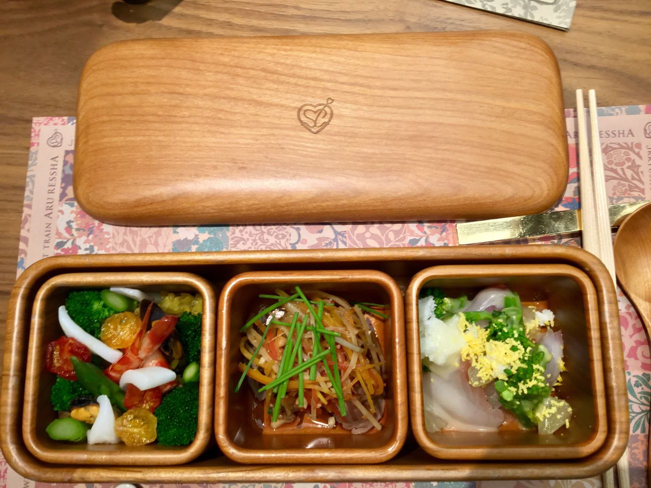 One more thing Wooden Texture Lunch Box Ready-to-eat JR KYUSHU SWEET TRAIN「或る列車」 NARISAWA BENTO Food Photography IPod Touch Photography 33mm No Finder No Filter 14:48 ( JST ) omake 😉 plus