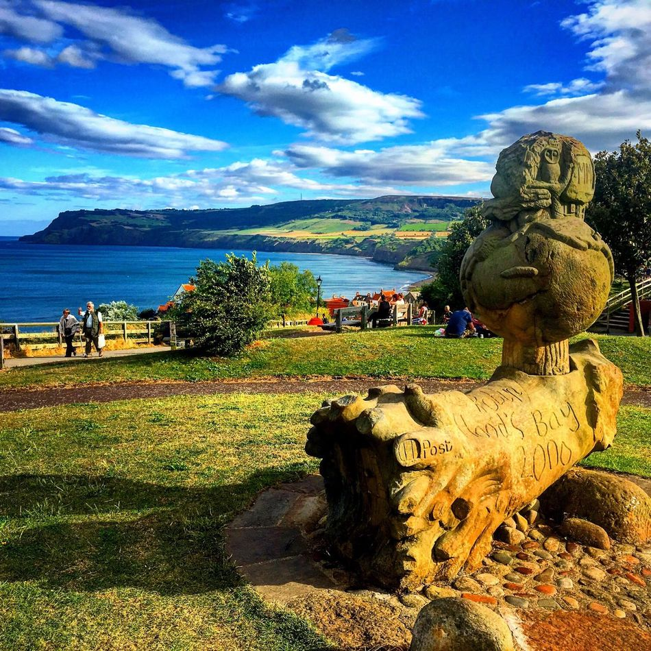 Sky Water Statue Blue Cloud - Sky Architecture Cloud Tranquility Day Tranquil Scene Countryside Outdoors Solitude Scenics Domestic Animals Green Riverbank Remote Robinhoods Bay Seaside Seaview Statue Bay Seaside Village Seaside Town