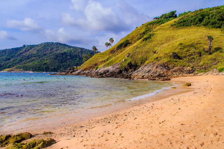 Beatiful View of Yanui Beach nearby Promthep cape, the most beautiful sunset viewpoint in Phuket, Thailand. PromThepCape Promthep Cape Beach Beauty In Nature Cloud - Sky Day Landscape Mountain Nature No People Outdoors Promthep Sand Scenics Sea Sky Tranquil Scene Tranquility Tree Water