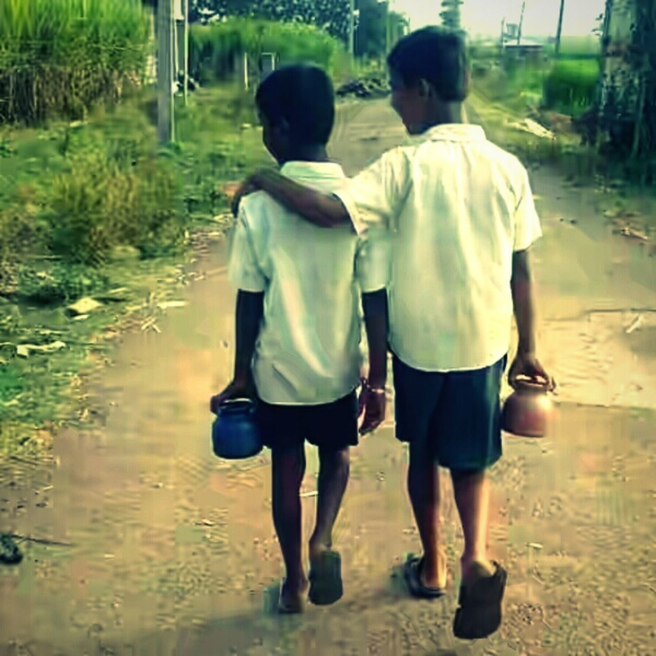 rear view, two people, togetherness, boys, walking, childhood, full length, child, males, bonding, real people, day, outdoors, people, adult