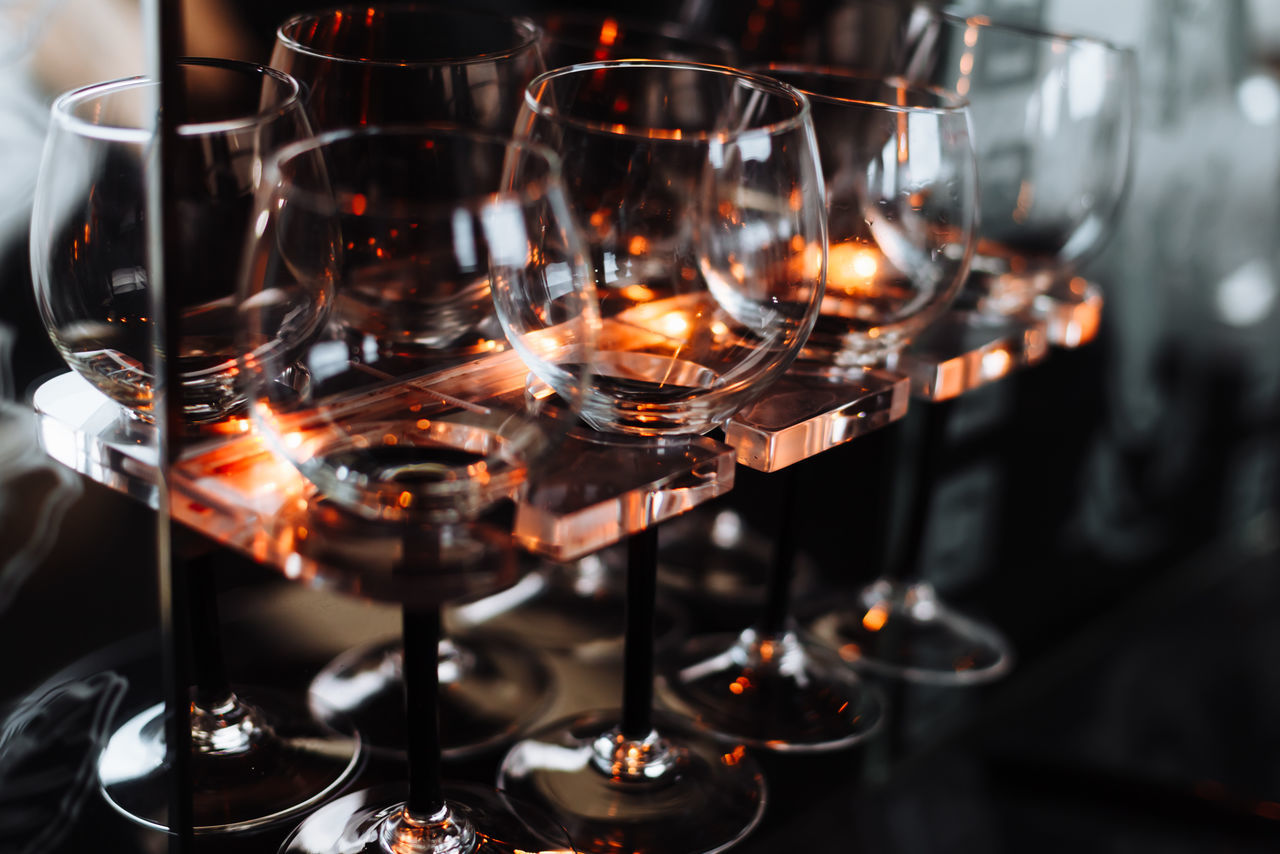 Close-up Drink Food And Drink Glass Glass Reflection Glasses Illuminated Illumination Indoors  Light And Shadow No People Wine Glass Wineglass