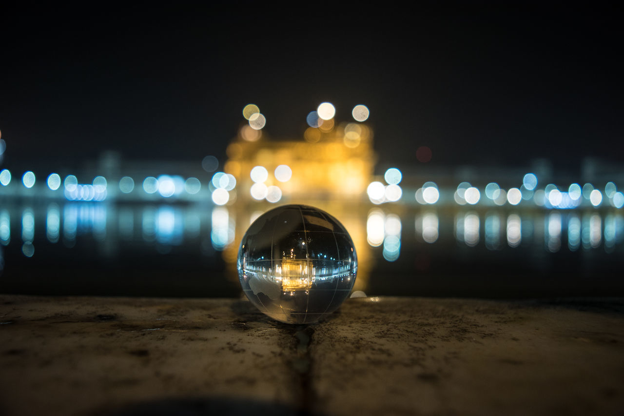 Amritsar Close-up Defocused Globe Golden Temple Illuminated Lighting Equipment Night Nightlife No People Reflection Sphere Finding New Frontiers Water Reflections