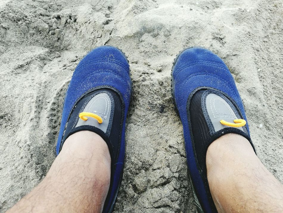 Personal Perspective Shoe High Angle View Blue Men Lifestyles Beach Sand Funinthesun  Sockshoes Allterrain Huaweiphotography Huawei P9 Leica HuaweiP9 Durban Beachfront Durban South Africa Summer Vibes Feelit First Eyeem Photo