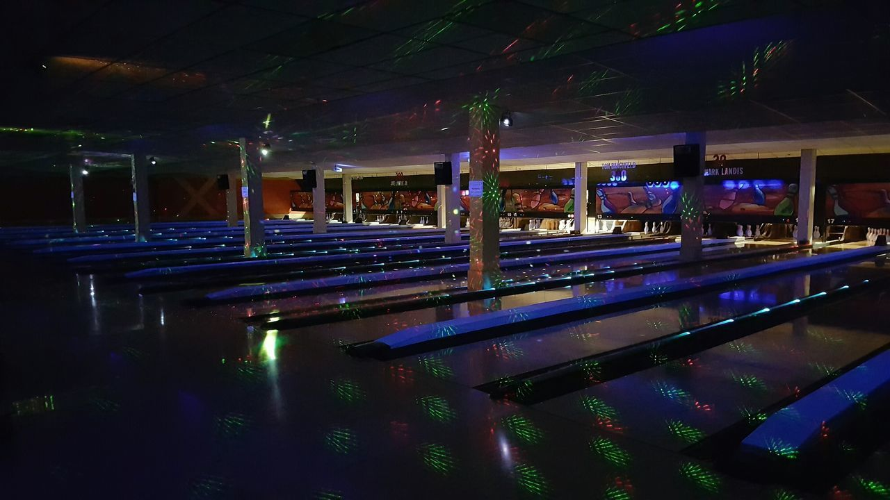 Night Illuminated No People From My Perspective From My Point Of View Bowling Bowling Alley Bowlingnight Bowling Night Midnight Bowling All Nighter Fun Having Fun Hanging Out Strobe Lights Disco Party Leisure Activity