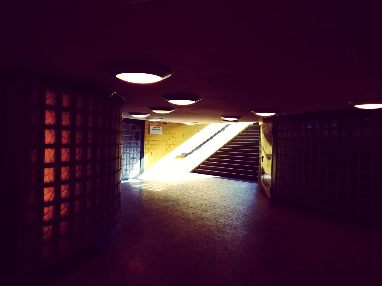 No People Architecture Lighting Equipment My Fucking Berlin U-Bahnhof Subway Station Underground Stairs Lights And Shadows