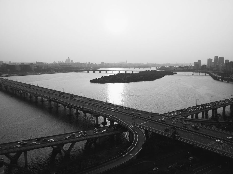 The sunset view over mapo bridge in seoul south korea taken in black and white Sunset Black And White Mapo Bridge Seoul Han River Korea Black & White City