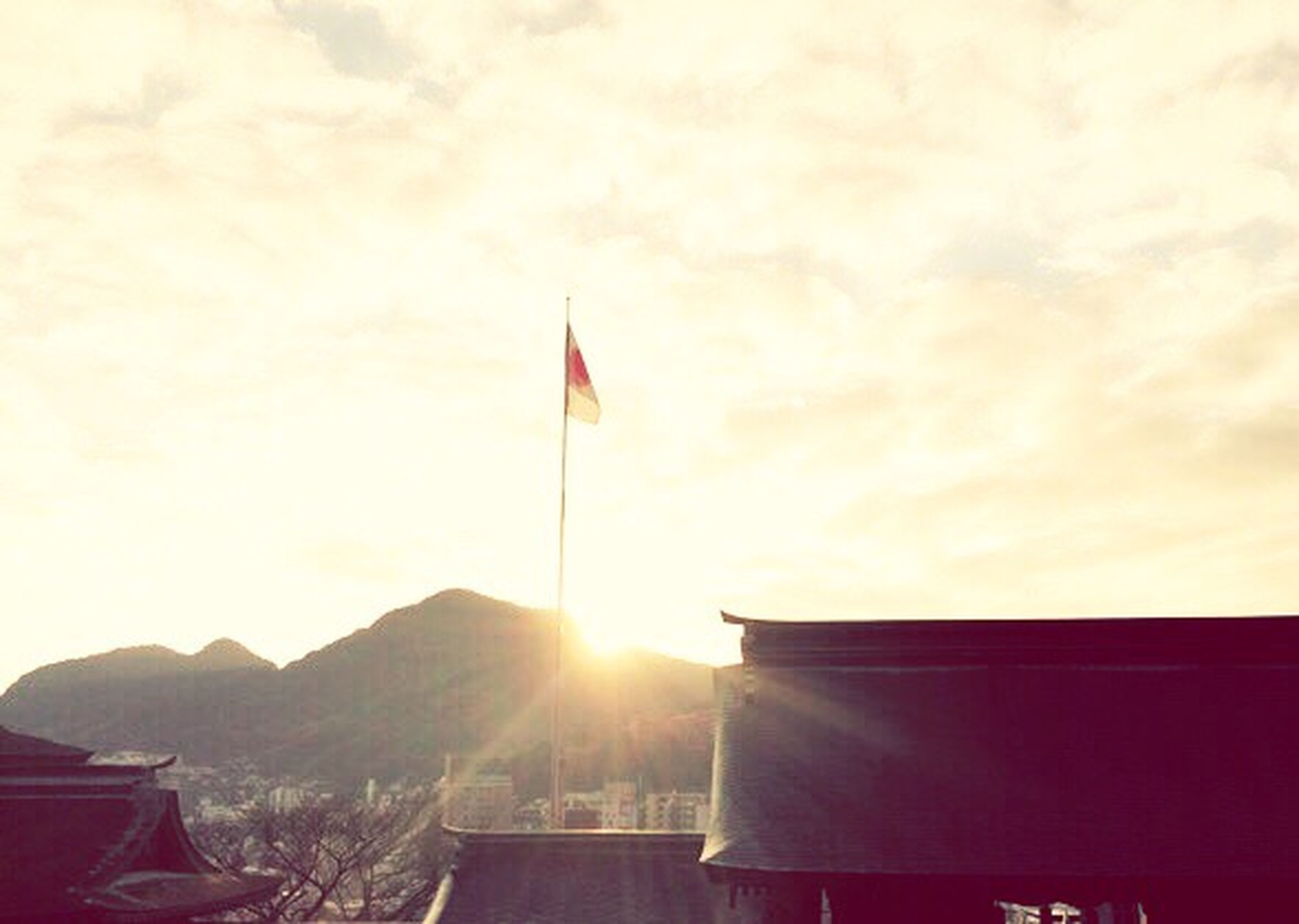 flag, patriotism, no people, sunset, sunlight, sky, nature, day, outdoors