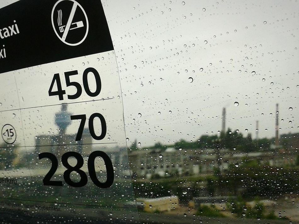 Budapest, Hungary Taxi Urban Landscape Rainy Day