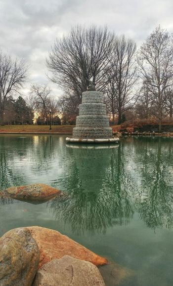 Reflection Sky Tree Water No People Cloud - Sky Outdoors Nature Day Columbus, Ohio Goodale Park Fountain Water Fountain Water Reflection Stones Tranquility Tranquil Scene Sunset