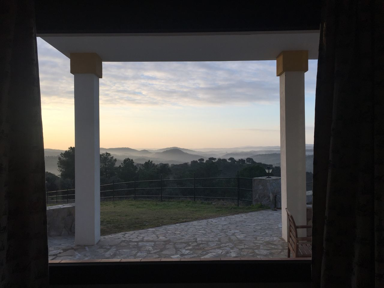 window, sky, sunset, indoors, nature, no people, open, mountain, scenics, built structure, beauty in nature, landscape, day, tree