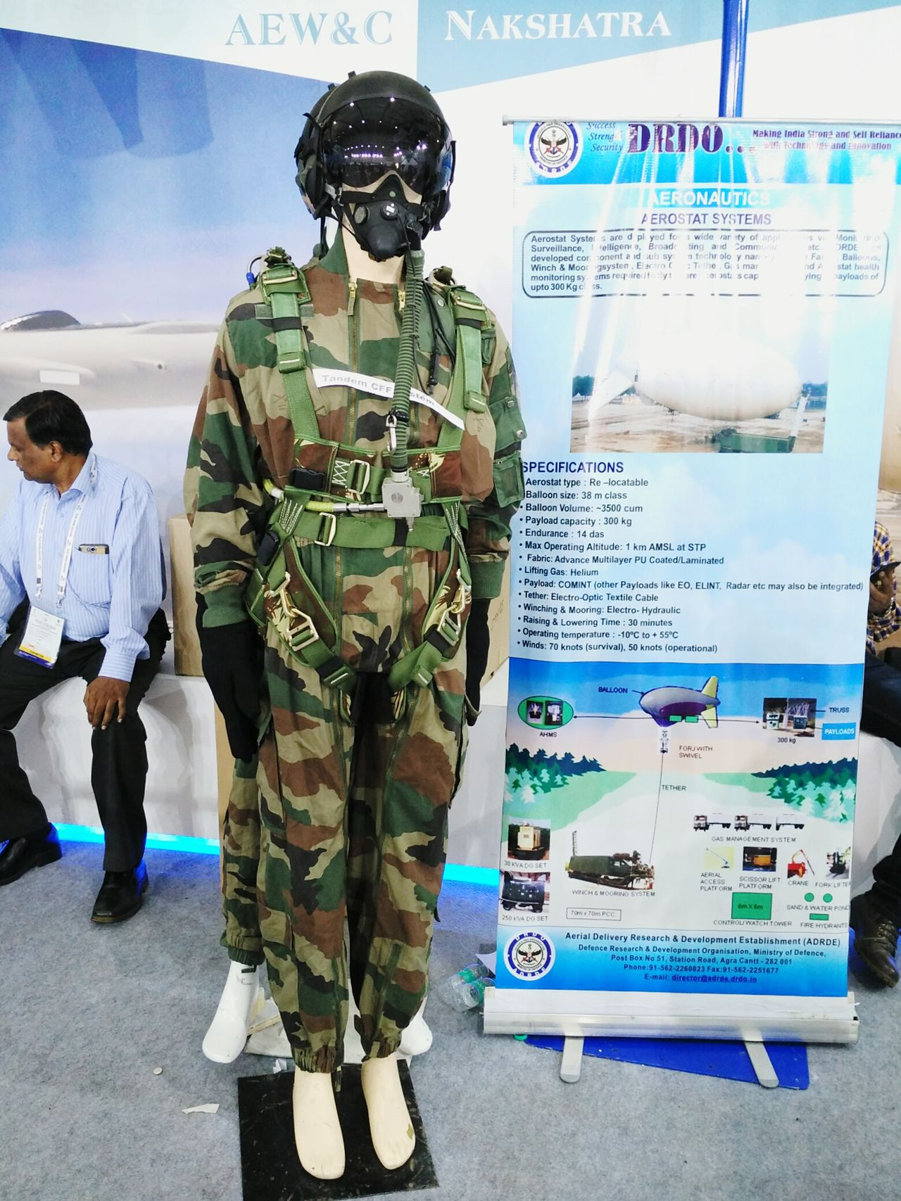 Tandem combat operations suit kept for display by DRDO at Defexpo India 2016 in Goa. Tandem Skydive Suit Jacket DRDO Uniforms Safety Army Indian Army Military Defence Exposition Defence Expo Defexpogoa2016 Mannequins Display Information Public Display Goa Goa India Defexpo India