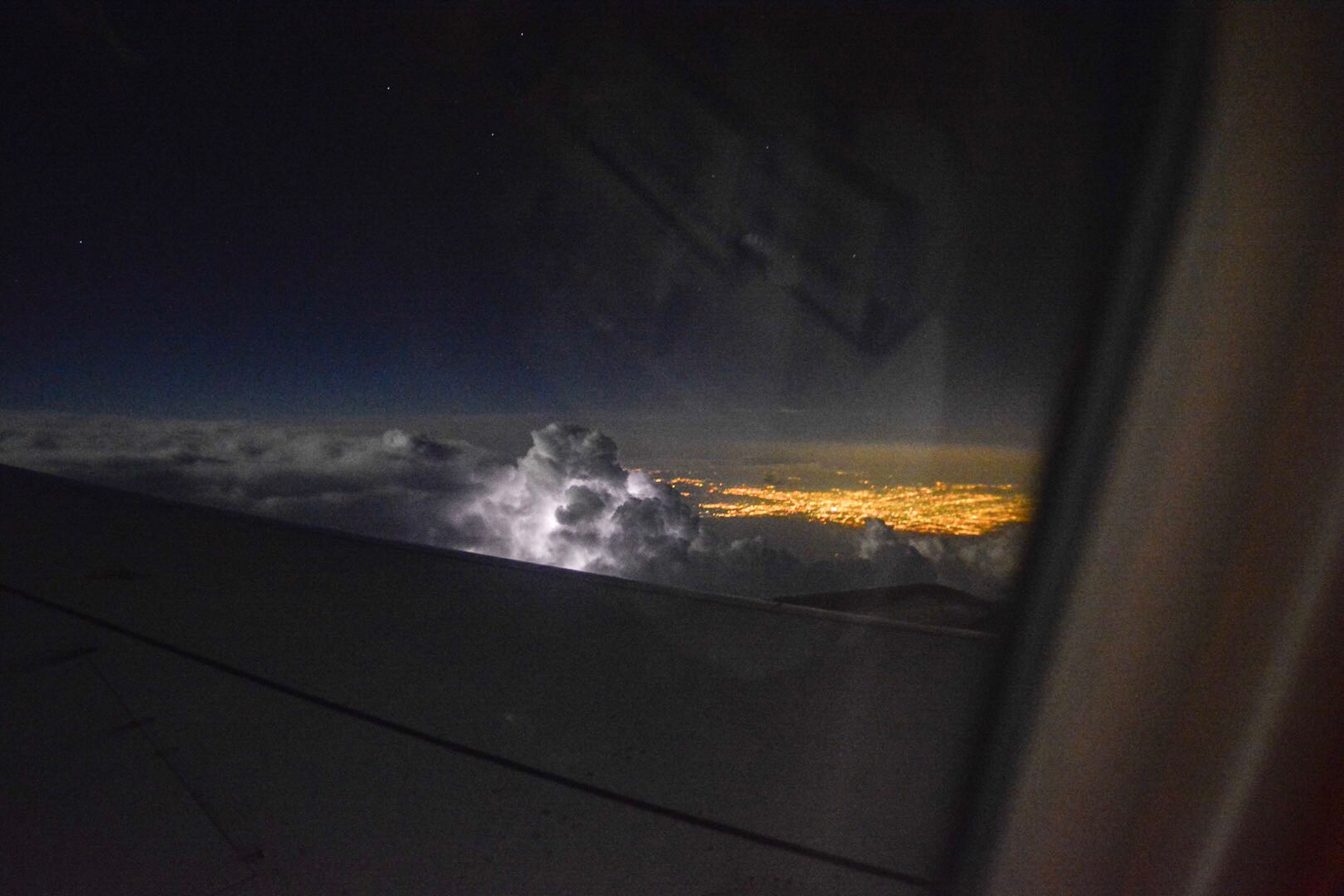 nature, no people, beauty in nature, sky, cloud - sky, sunset, airplane, scenics, outdoors, night, airplane wing, astronomy