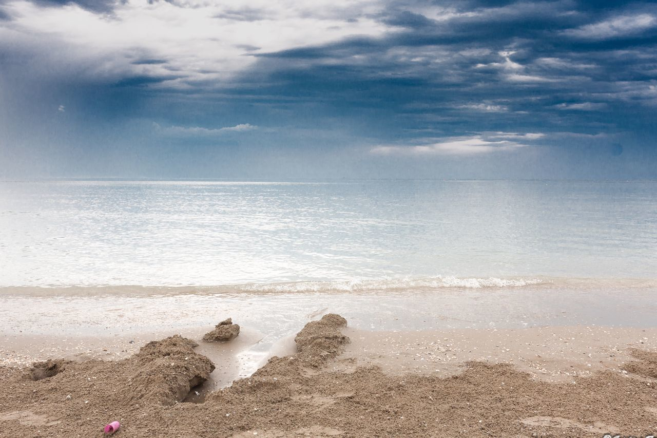 sea, beach, water, horizon over water, sky, cloud - sky, beauty in nature, nature, sand, scenics, tranquility, day, tranquil scene, outdoors, no people, wave