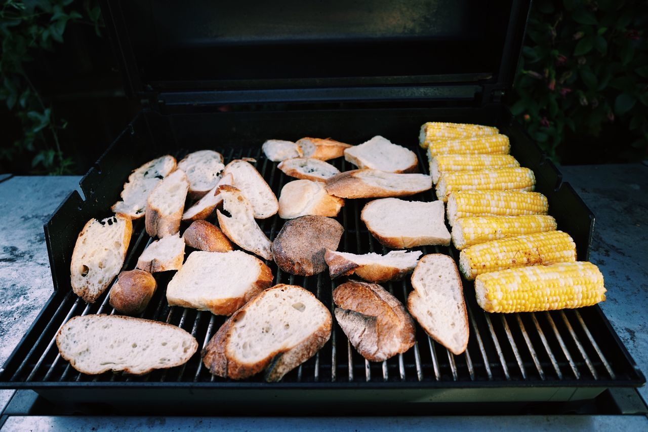 BBQ /// carbs & corn // Food And Drink Food Freshness Healthy Eating High Angle View Preparation  No People Large Group Of Objects Day Barbecue Outdoors Close-up