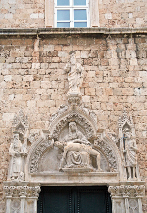 Art ArtWork Catholicism Christianity Craftmanship Culture Day Dubrovnik, Croatia Eu Europe Façade Franciscan Church History Jesus Christ No People Portal Religion Sad Madonna St.Mary Stradun