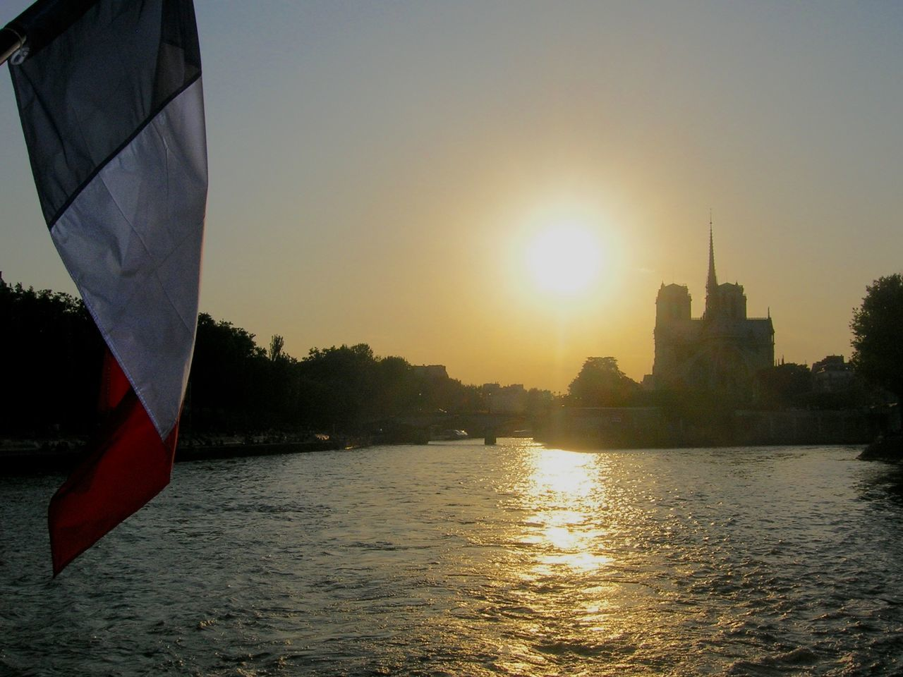 Day French Flag Nature No People Notre-Dame Outdoors Paris Seine River Sky Sunset Water