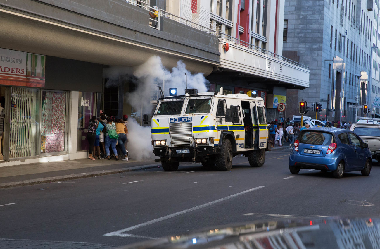 The South African Police Service use stun grandes to disperse protestors from the Fees Must Fall movement. 28th October 2016 Cape Town Feesmustfall Police Force South Africa The Photojournalist - 2017 EyeEm Awards The Photojournalist - 2017 EyeEm Awards