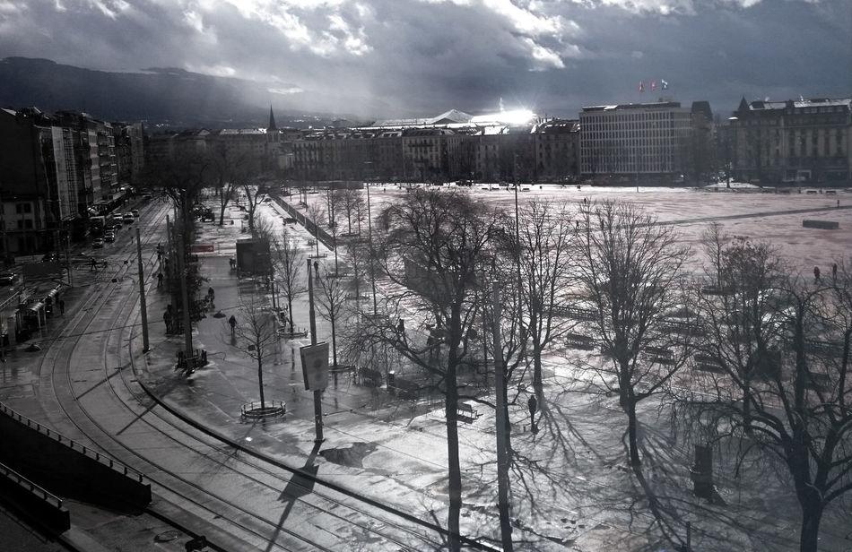 Architecture Built Structure City Cloud - Sky Cold Temperature Day Daylight Outdoors Rainy Days Sky Snow Winter Geneva Geneve Plainpalais Plaine De Plainpalais
