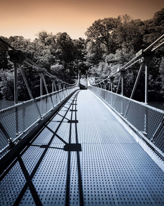 Popolopen Suspension Bridge near Bear Mountain State Park in New York. Beauty In Nature Bridge Bridge - Man Made Structure Connection Day Diminishing Perspective Engineering Footbridge Growth Long Mountain Nature No People Non-urban Scene Outdoors Popolopen Suspension Bridge Scenics Sky The Way Forward Tourism Tranquil Scene Tranquility Travel Destinations Tree Vanishing Point