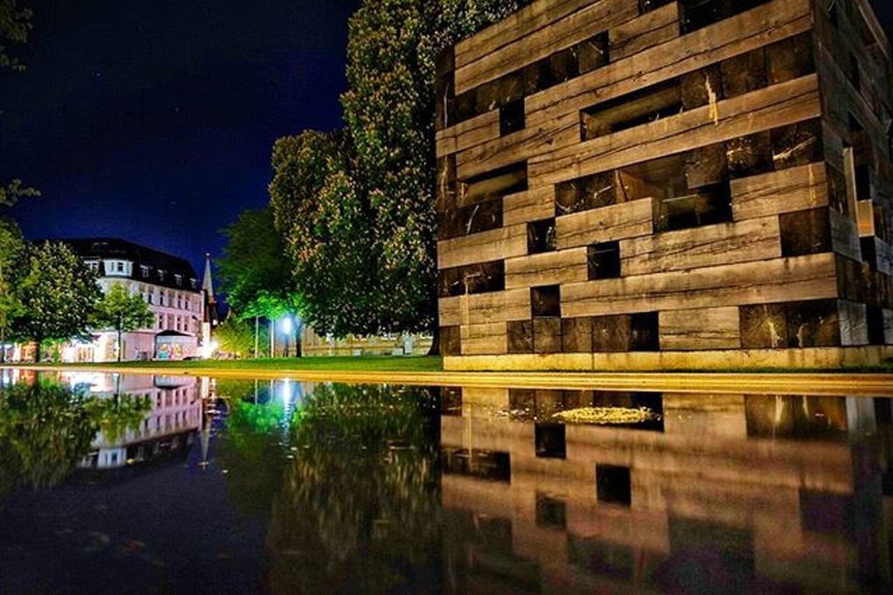 Nightshot Bielefeldjetzt Bielefeld Kunsthalle Watermirror Upsidedown