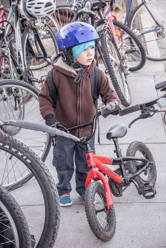 Little rider on a cold winter day. Bicycle Bundled Up Celebrate Your Ride Child Cute Cycling Growing Up Outdoors Red Bike Winter