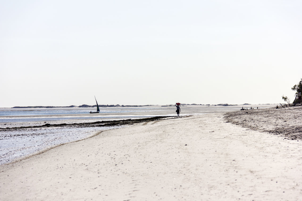 Man Walking On Shore At Beach Against Clear Sky
