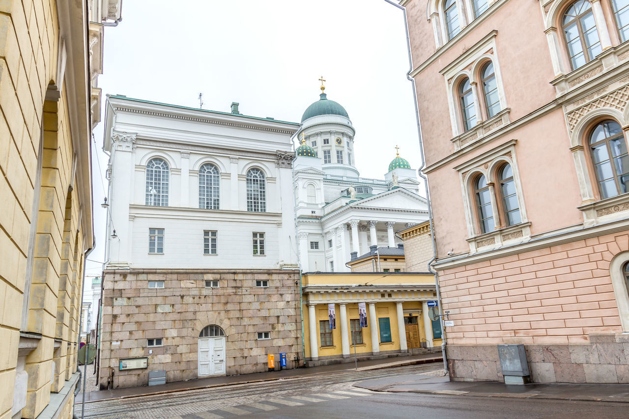 Low Angle View Of Helsinki Lutheran Cathedral By Buildings