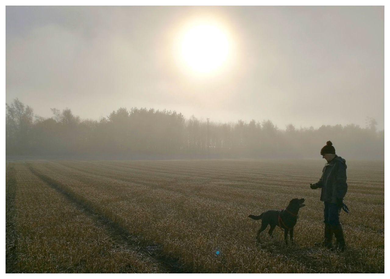 Full Length Of Woman With Dog Standing On Agricultural Field Against Sky During Sunrise