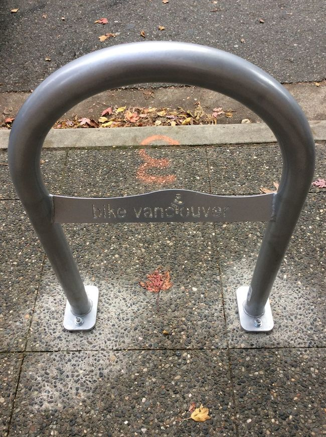 Vancouver Canada stainless steel bike rack Street Debris Textured Road maple leaf October Morning Autumn Leaves