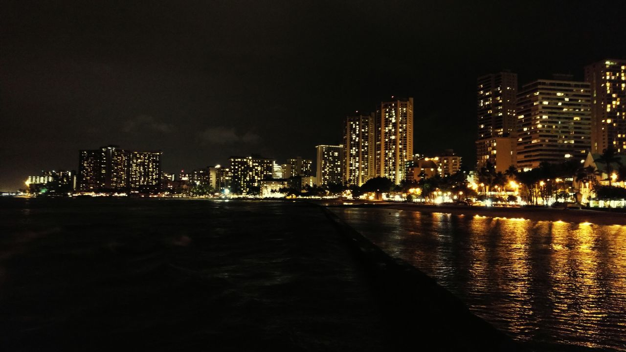 Beach WaikikiBeach Waikiki Honolulu  Oahu Hawaii Beachatnight Beach At Night Skyline