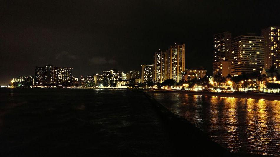 Beach WaikikiBeach Waikiki Honolulu  Oahu Hawaii Beachatnight Beach At Night Skyline