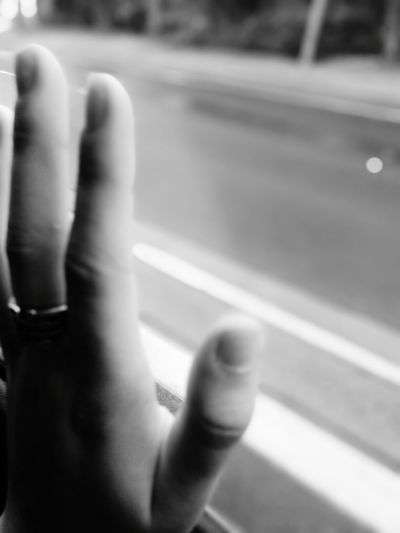 Human Hand Black & White Ring Window Hand One Woman Only Road